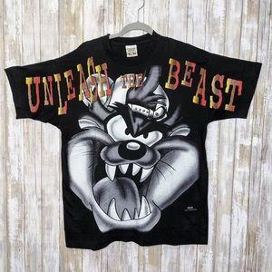 Vtg '96 Taz Double Sided Single Stitch T-shirt Lg